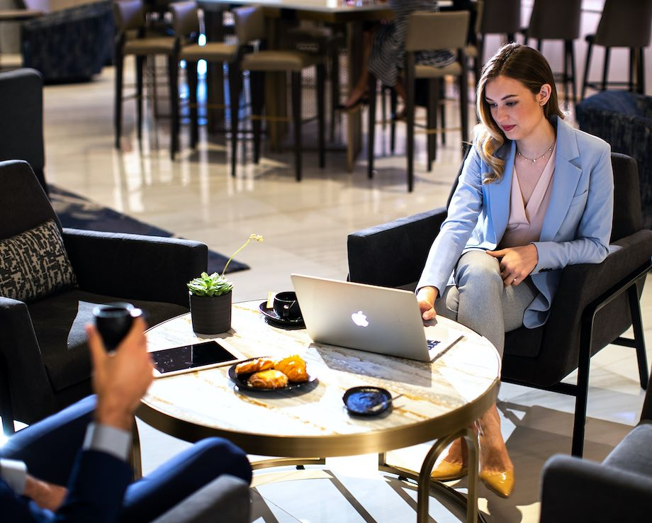 Business Woman Working at Chicago Marriott Downtown Magnificent Mile
