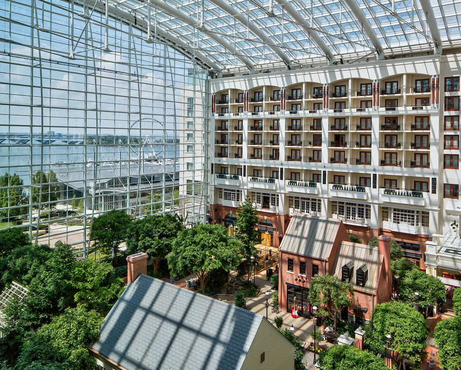 Gaylord National side atrium view of harbor