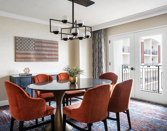 Meeting area with table in atrium view Executive Suite at Gaylord National Resort in National Harbor, MD