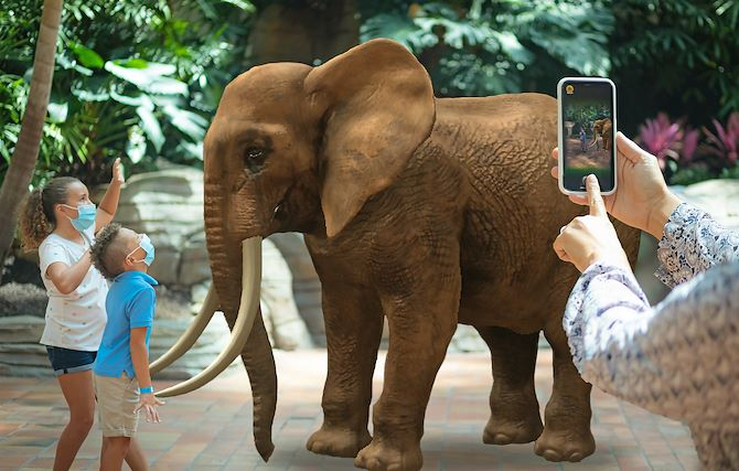 Children in masks in front of elephant augmented reality - Gaylord National resort