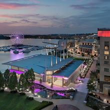 View from Pose Rooftop Lounge overlooking RiverView Ballroom at Gaylord National
