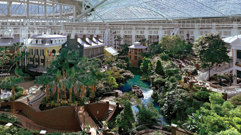 Delta atrium gardens and Delta River inside Gaylord Opryland