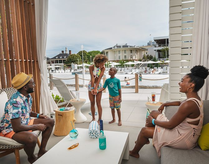 Guests inside Poolside Cabanas at SoundWaves at Gaylord Opryland
