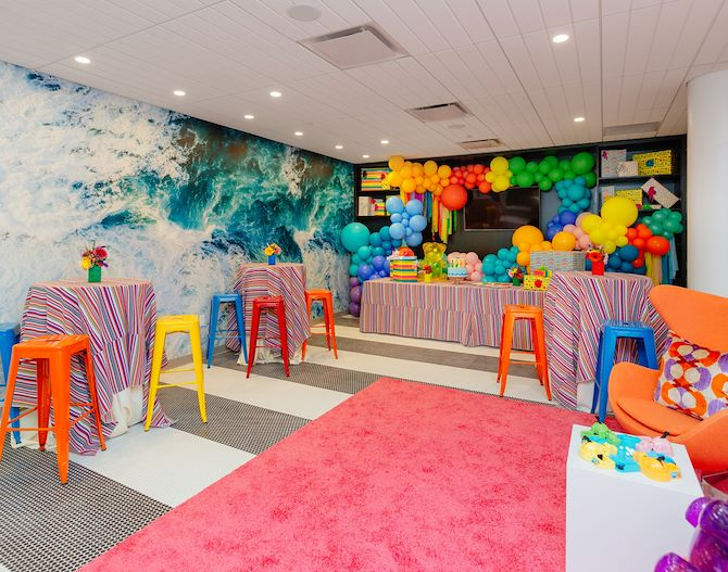 SoundWaves party room decorated for child's birthday