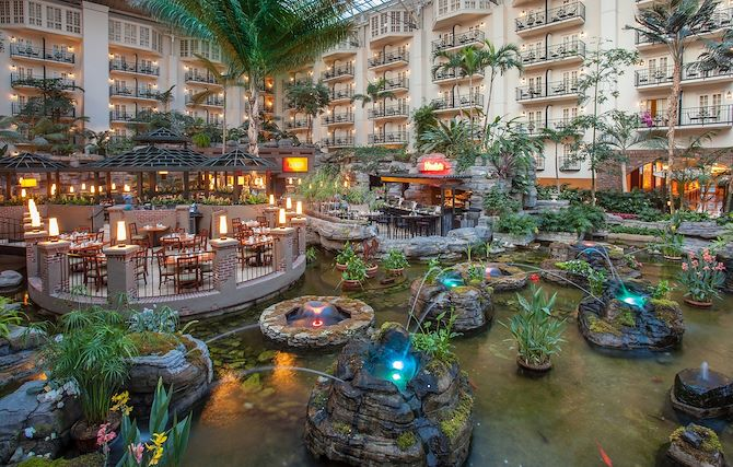 Gardens and winding waterways in Cascades Atrium at Gaylord Opryland