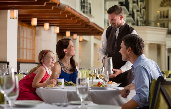 Family dining at Ravello Italian cuisine at Gaylord Opryland's Garden Conservatory