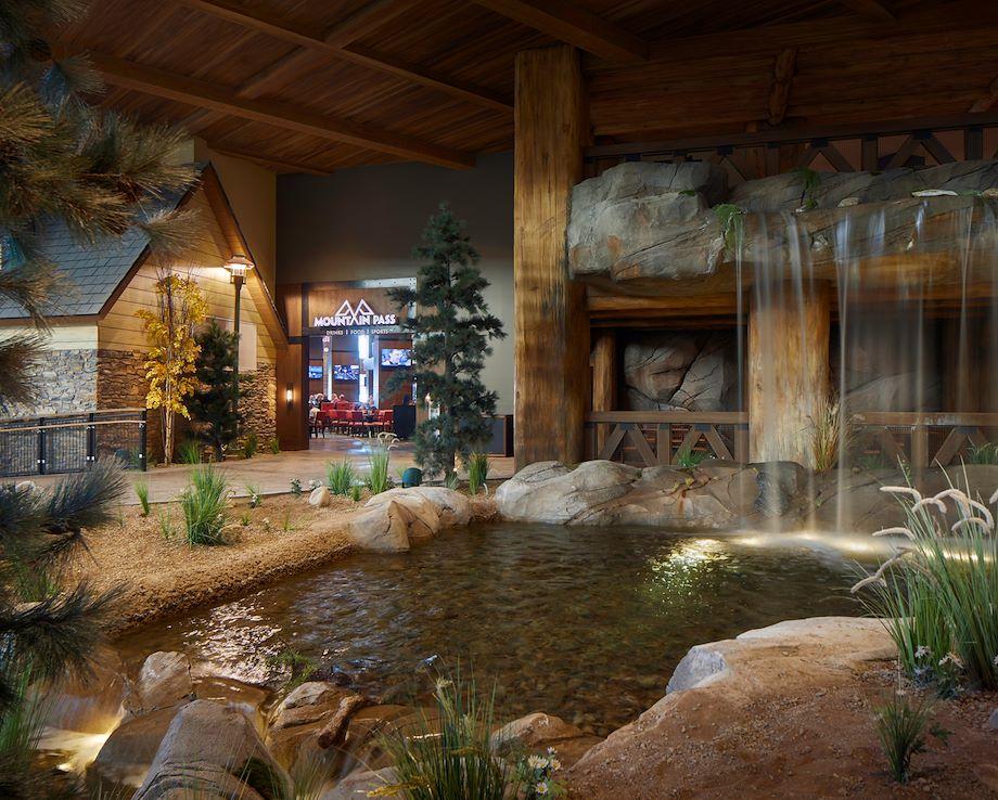 Waterfall inside Grand Lodge at Gaylord Rockies Resort in Aurora, CO