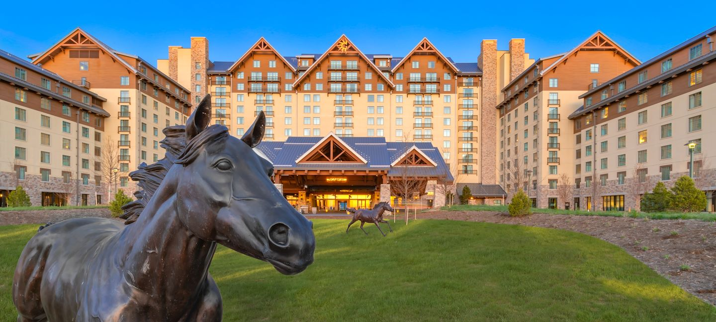 Horse statue on front drive entrance of Gaylord Rockies Resort