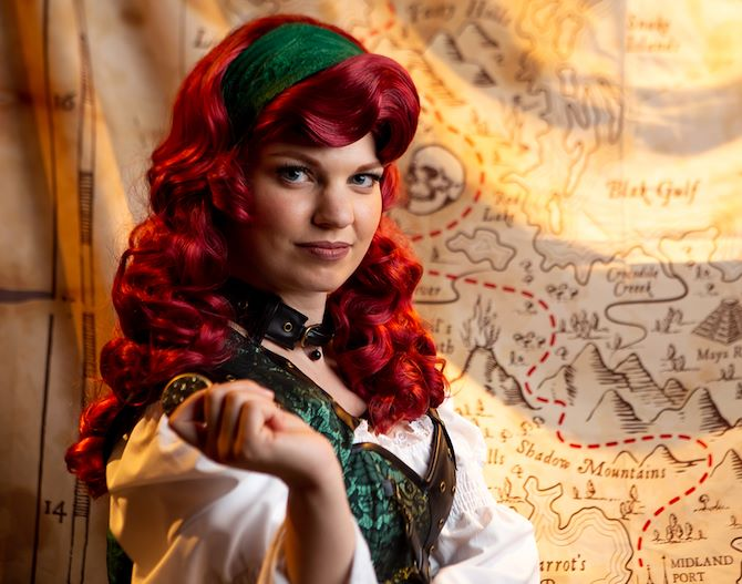 Female pirate in costume at Gaylord Rockies Escape Room
