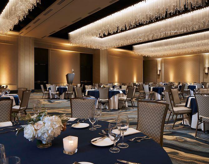 Juniper Ballroom - tables set up for event at Gaylord Rockies