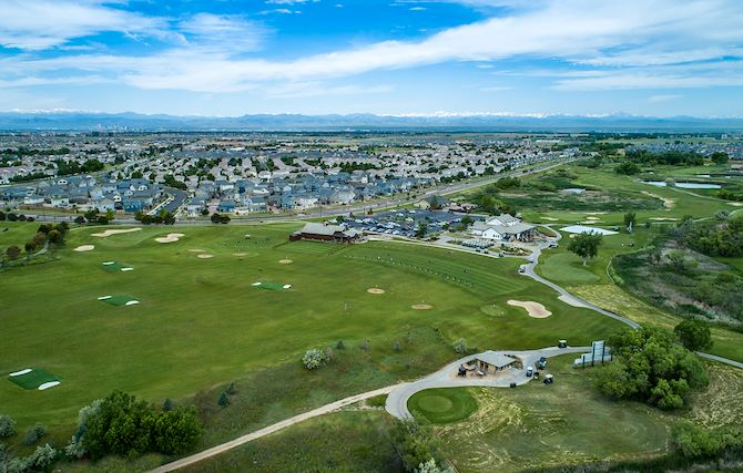 Aerial shot of Green Valley Ranch Golf Club, 4 miles from Gaylord Rockies Resort
