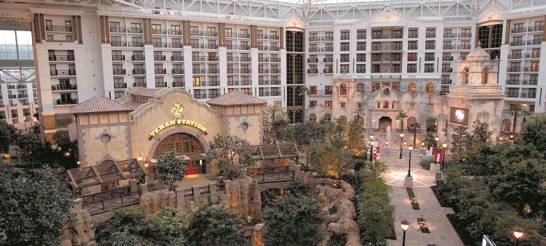 Lone Start Atrium aerial view overlooking restaurants, gardens and waterways
