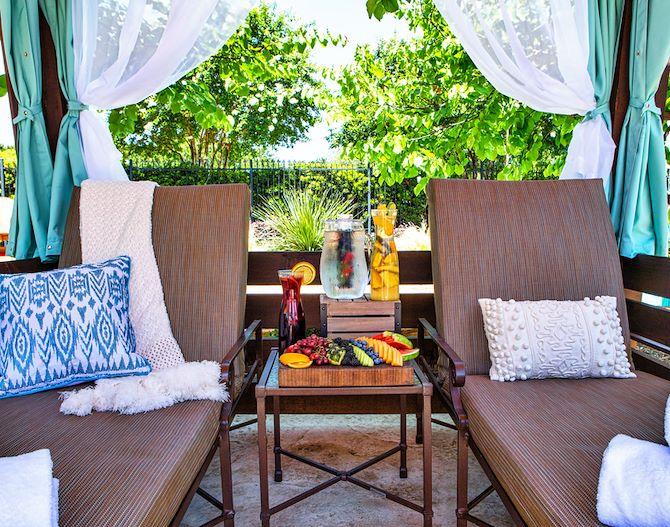 inside cabana at Paradise Springs at Gaylord Texan