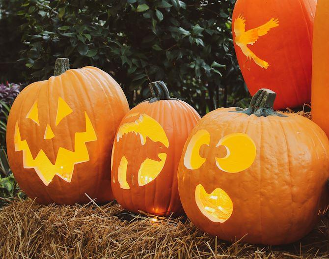 Carved Pumpkins in Atrium - Gaylord Texan