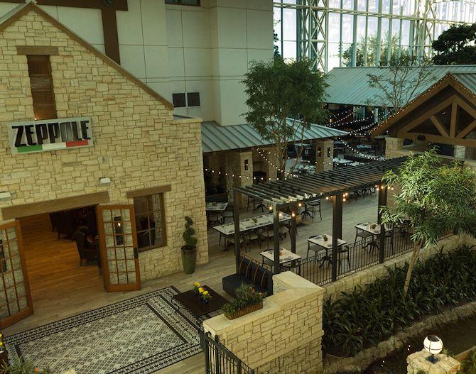 Zeppole courtyard - gardens under glass atrium at Gaylord Texan
