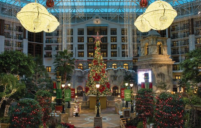 Lone Star Atrium at Gaylord Texan decorated for Christmas