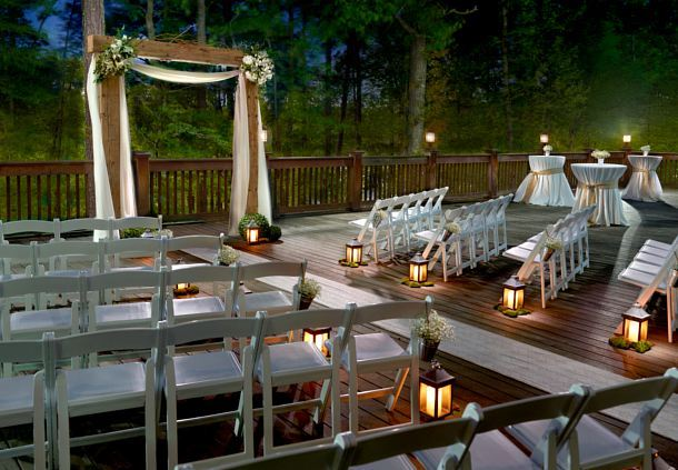Lakeside Deck - Wedding at Dusk