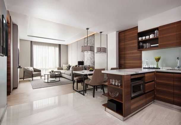 One-Bedroom Residential Suite - Living Room and Kitchen