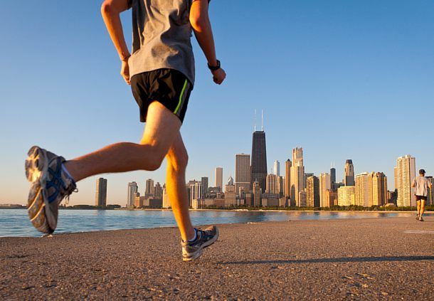 Running along Lake Michigan