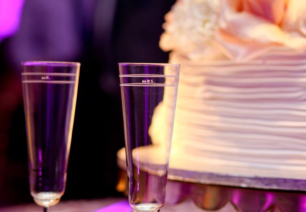 Champagne Glasses and Cake