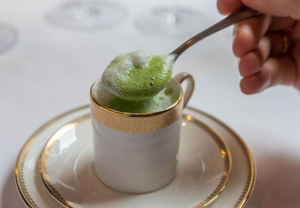 Cappuccino of Snow Pea Soup