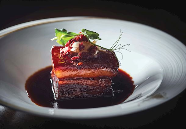 Braised pork belly in sweetened vinegar sauce