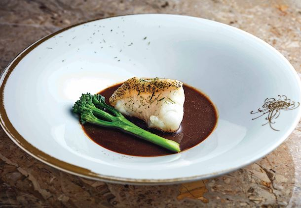 Oil-poached tiger garoupa fillet with seaweed sauce
