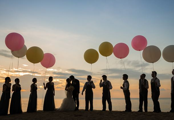 Group Photo with Pastel Balloons