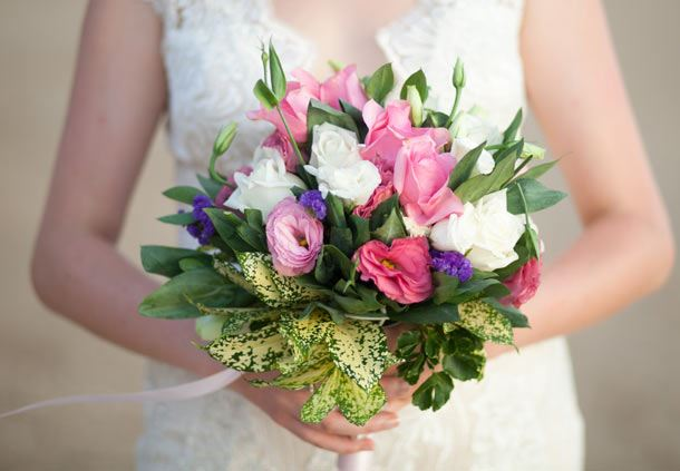 A Wedding Bouquet of Fresh Flowers for the Bride