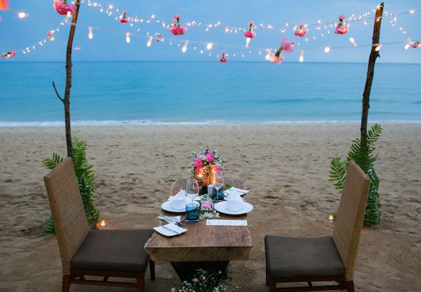 Private Dinner for Two on the Beach with Twinkling Lights