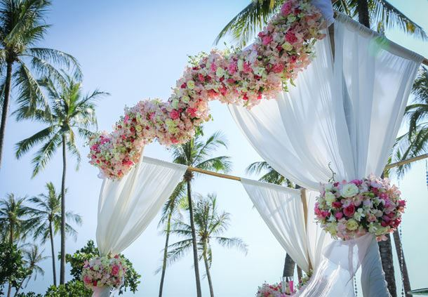 Fresh Flower Arch for a Special Beachfront Wedding