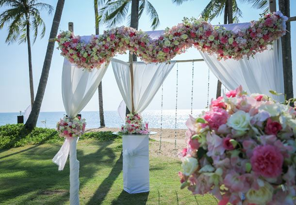 Beachfront Wedding Ceremonial Altar of Flowers