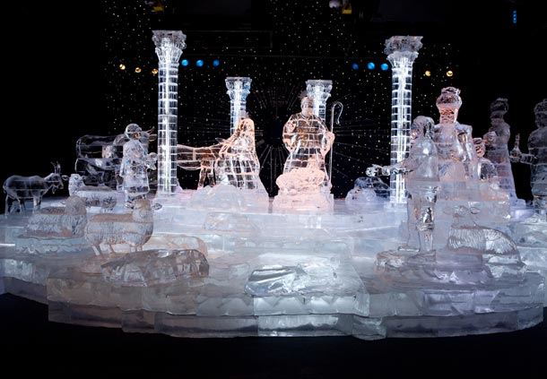 Nativity in Crystal Clear Ice