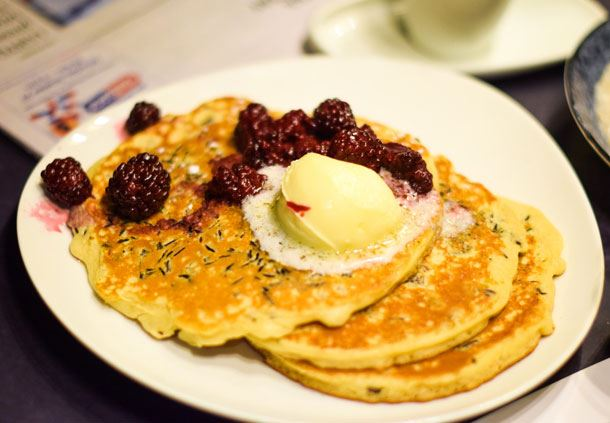 Wild Rice Pancakes with Blackberries
