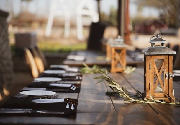 Farm Table Set With Lanterns