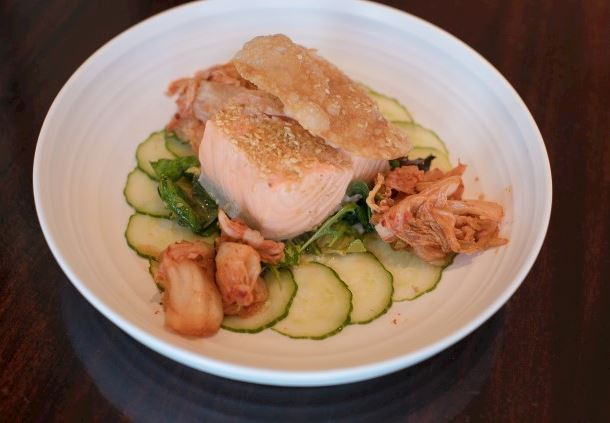 Poached Sesame Seed Salmon
