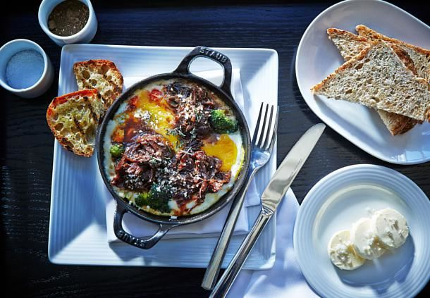 Oven-Baked Eggs & Short Rib