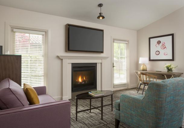 Cottage Guest Room - Living Area & Fireplace