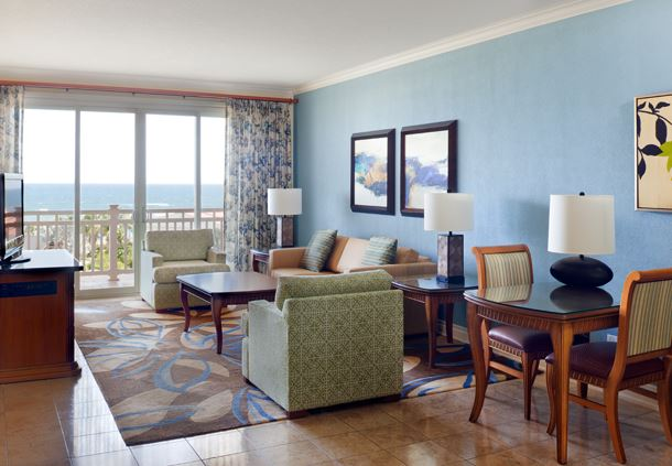 The Royal Suites at St. Kitts Marriott are located on the fifth floor of the main building. The mountain view suites overlook the golf course and hills of Frigate Bay.