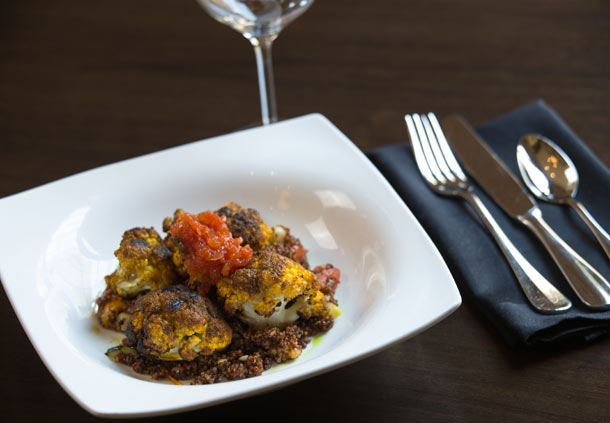 Grilled Berbere Cauliflower with Tomato Chutney