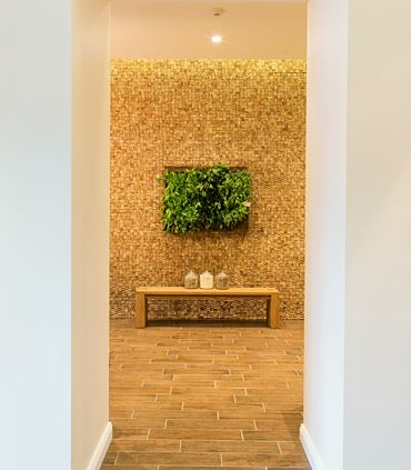 Mani/Pedi Room with Wine Cork & Living Herb Wall