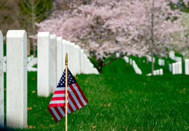 Arlington National Cemetery, Closeup with Flag
