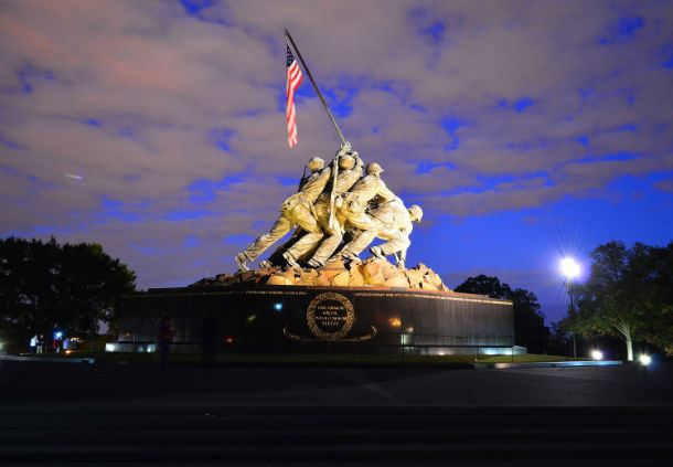 U.S. Marine Corps Memorial at night