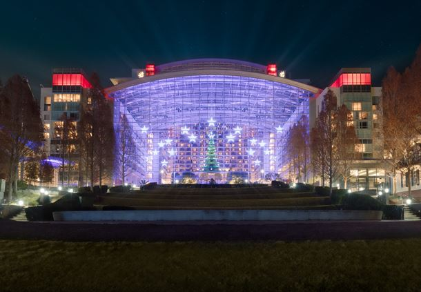 Exterior of Gaylord National at Christmas