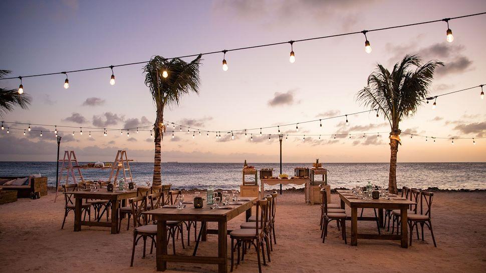 Coral Beach Wedding Setup