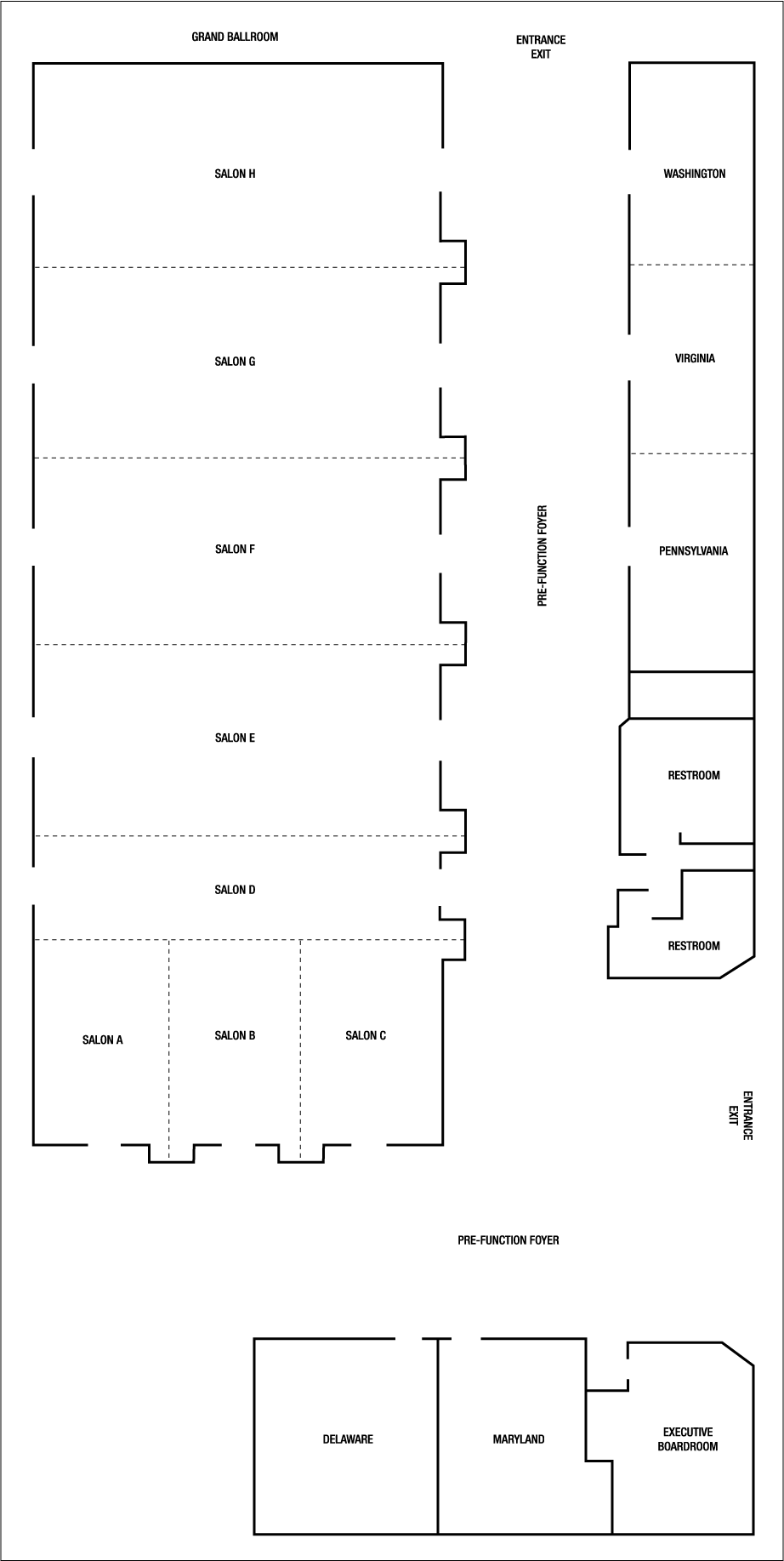 Wedding Event Space Floor Plans at the BWI Airport Marriott