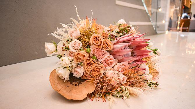 Bouquet of flowers in lobby