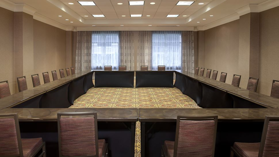 Pecan Meeting Space in Hollow Square Setup