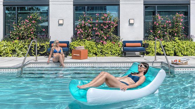 Lady on Pool Float