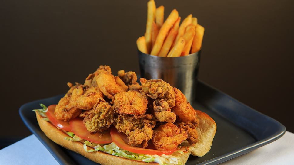 Seafood Poboy and French Fries